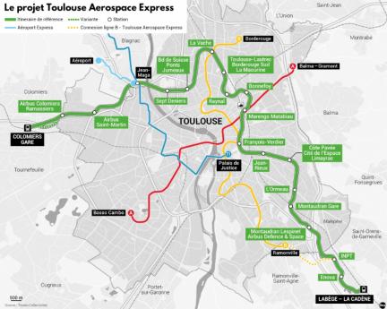 Carte du projet Toulouse Aerospace express